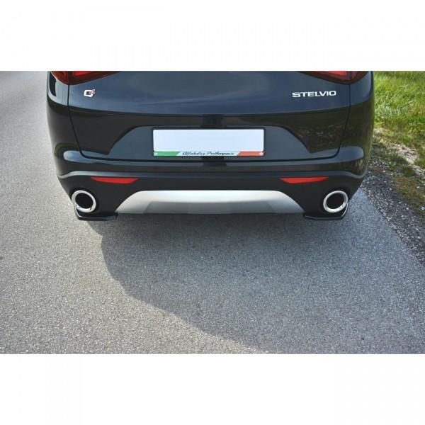 Heck Ansatz Flaps Diffusor passend für Alfa Romeo Stelvio schwarz Hochglanz