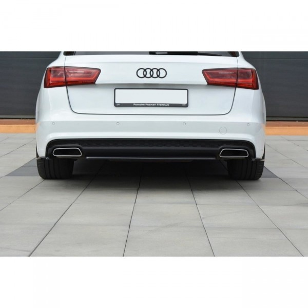 Mittlerer Diffusor Heck Ansatz passend für Audi A6 C7 Avant S-line Facelift schwarz matt