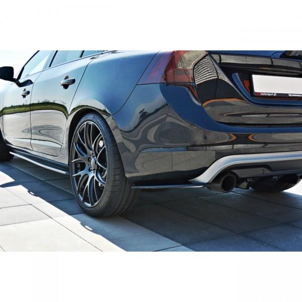 Heck Ansatz Flaps Diffusor passend für Volvo V60 Polestar Facelift schwarz matt