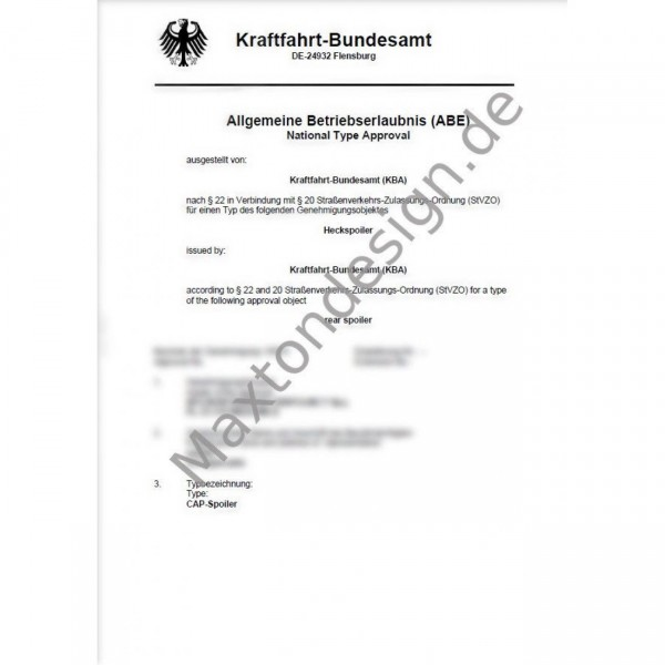Maxtondesign Heckspoiler Gutachten ABE für alle CAP1 AUDI BMW VW FORD SKODA