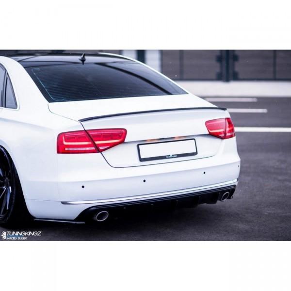 Heck Ansatz Flaps Diffusor passend für Audi A8 D4 schwarz Hochglanz