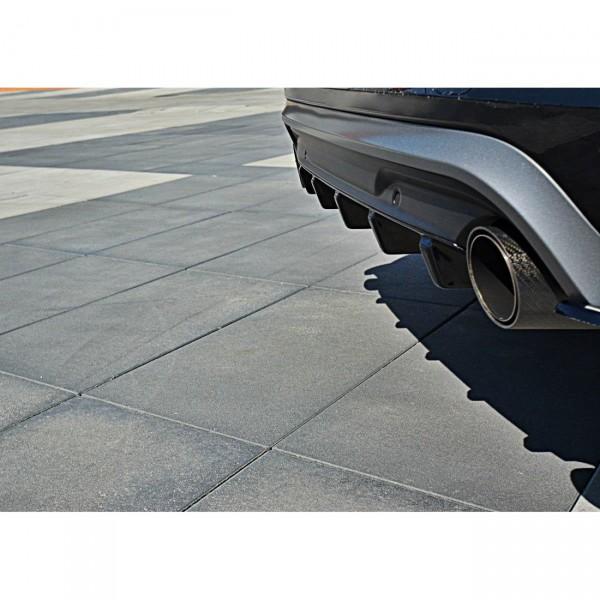 Diffusor Heck Ansatz passend für Volvo V60 Polestar Facelift schwarz Hochglanz