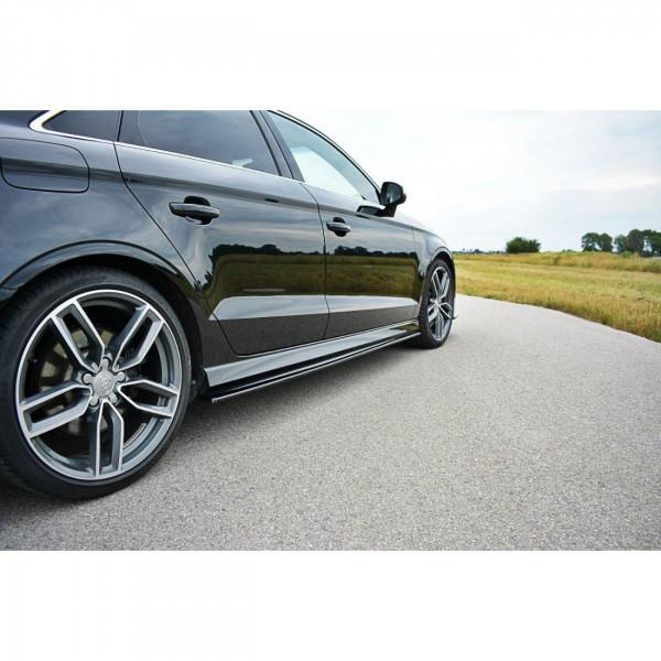 Seitenschweller Ansatz passend für Audi S3 8V Limousine Facelift schwarz Hochglanz