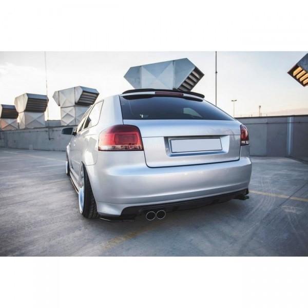 Heck Ansatz Flaps Diffusor passend für AUDI S3 8P Facelift 2006-2008 schwarz Hochglanz