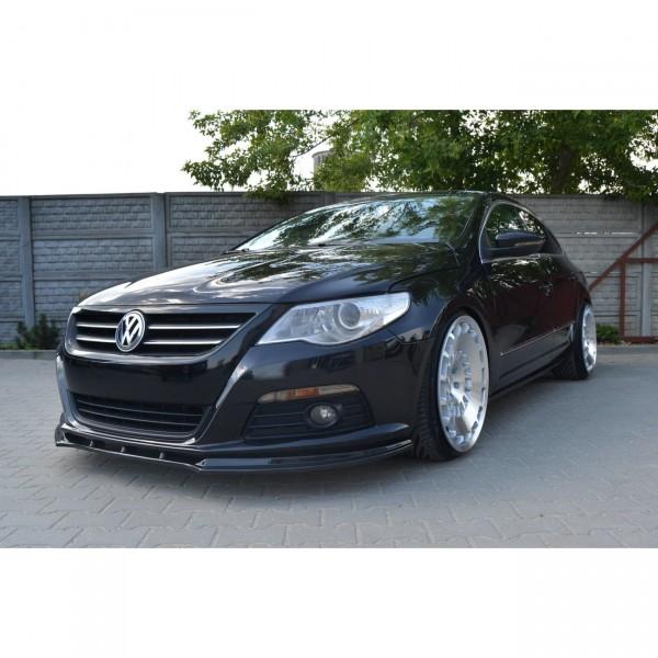 Front Ansatz passend für V.1 VW PASSAT CC vor Facelift, STANDARD STOßSTANGE schwarz Hochglanz