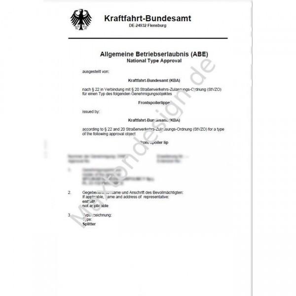 Maxtondesign Frontansatz Gutachten ABE für alle FD1 AUDI BMW VW FORD SKODA