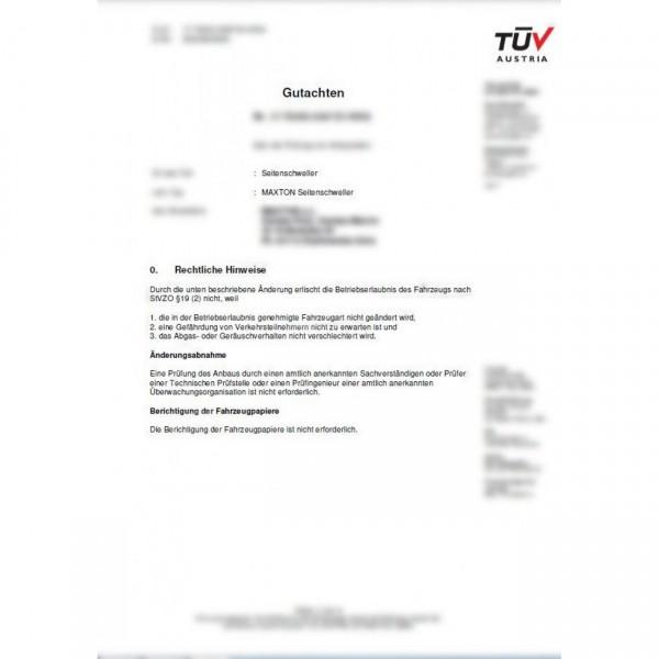Maxtondesign Seiten Schweller Gutachten ABE für alle SD1 AUDI BMW VW FORD SKODA