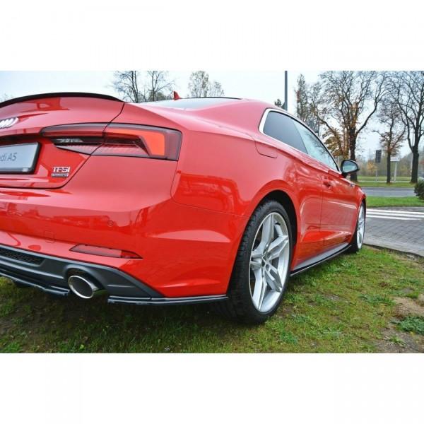 Heck Ansatz Flaps Diffusor passend für Audi A5 F5 S-Line schwarz Hochglanz