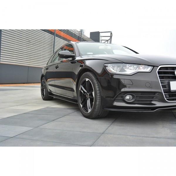 Seitenschweller Ansatz passend für Audi A6 C7 schwarz Hochglanz
