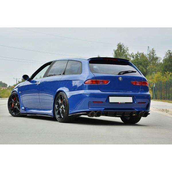 Heck Ansatz Flaps Diffusor passend für ALFA ROMEO 156 GTA SW Carbon Look
