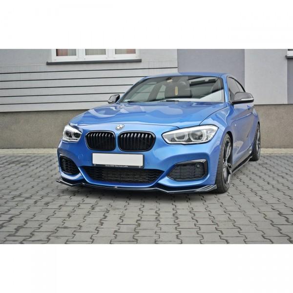 Front Ansatz passend für V.2 BMW 1er F20/F21 M-Power schwarz Hochglanz
