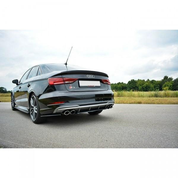 Mittlerer Diffusor Heck Ansatz passend für Audi S3 8V Limousine Facelift schwarz matt