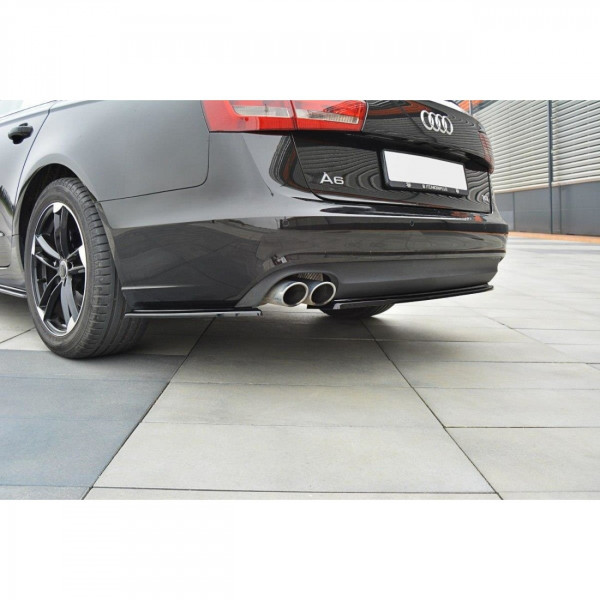 Heck Ansatz Flaps Diffusor passend für Audi A6 C7 Avant Carbon Look