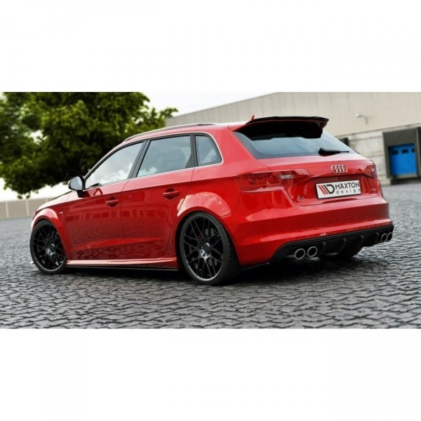 Heck Ansatz Flaps Diffusor passend für Audi S3 8V SPORTBACK schwarz Hochglanz