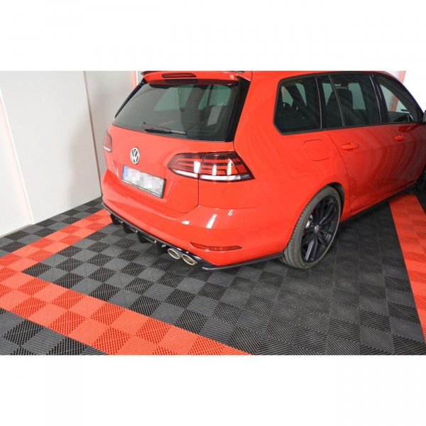 Heck Ansatz Flaps Diffusor passend für V.1 VW GOLF 7 R VARIANT FACELIFT Carbon Look