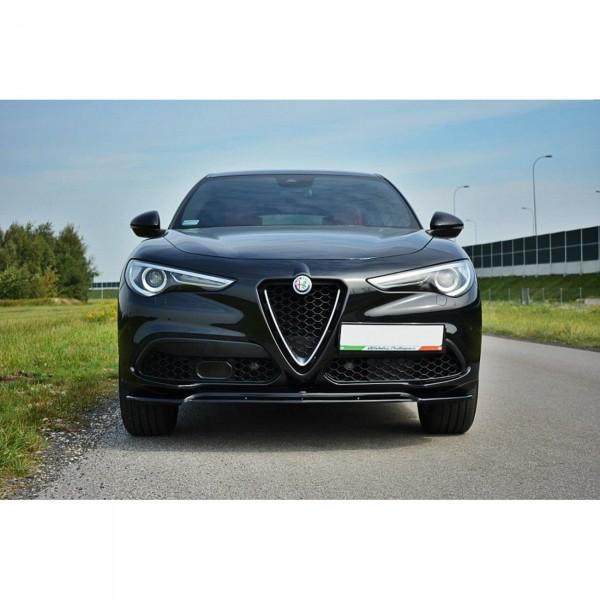 Front Ansatz passend für V.2 Alfa Romeo Stelvio schwarz Hochglanz