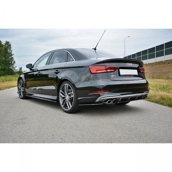 Heck Ansatz Flaps Diffusor passend für Audi S3 8V Limousine Facelift Carbon Look