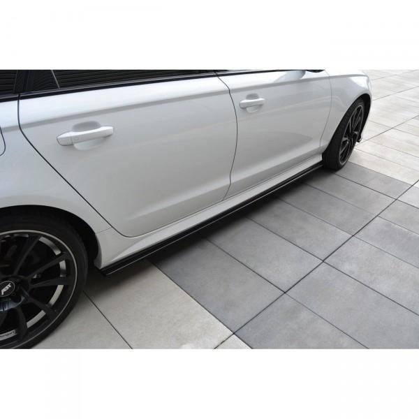 Seitenschweller Ansatz passend für Audi A6 C7 S-line/ S6 C7 Facelift schwarz matt