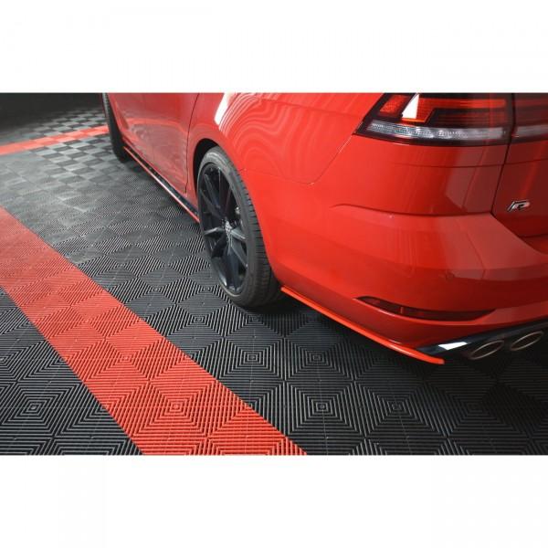 Heck Ansatz Flaps Diffusor passend für V.2 VW GOLF 7 R VARIANT FACELIFT Carbon Look