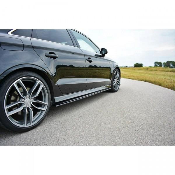 Seitenschweller Ansatz passend für Audi S3 8V Limousine Facelift schwarz matt