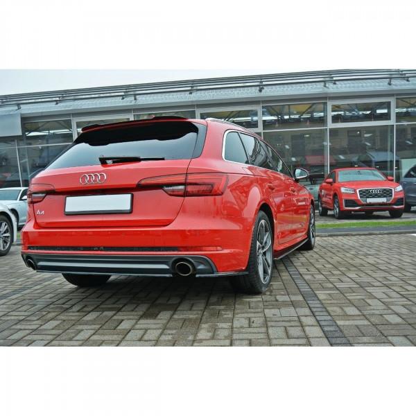 Heck Ansatz Flaps Diffusor passend für Audi A4 B9 S-Line schwarz Hochglanz