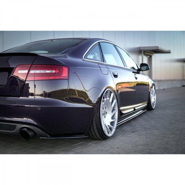 Heck Ansatz Flaps Diffusor passend für AUDI A6 C6 S-LINE FL SEDAN Carbon Look