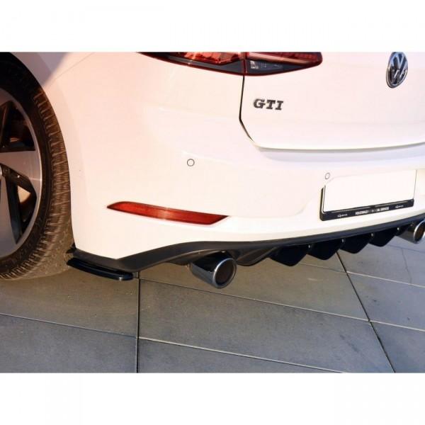 Heck Ansatz Flaps Diffusor passend für VW GOLF 7 GTI FACELIFT schwarz Hochglanz