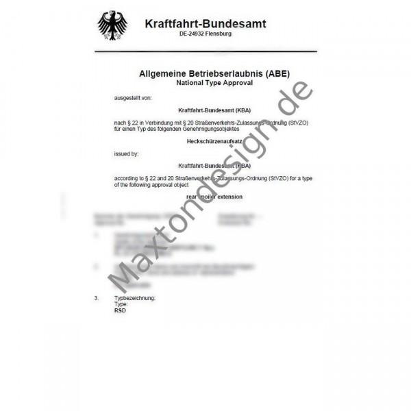 Maxtondesign Heckansatz + Flaps Gutachten ABE für RSD1 RD1 RS1 AUDI BMW VW FORD