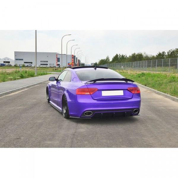 Heck Ansatz Flaps Diffusor passend für Audi RS5 Mk1 8T Facelift schwarz Hochglanz